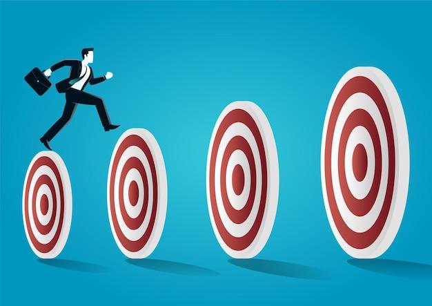 Illustratie van een zakenmissprong bovenop doelbord