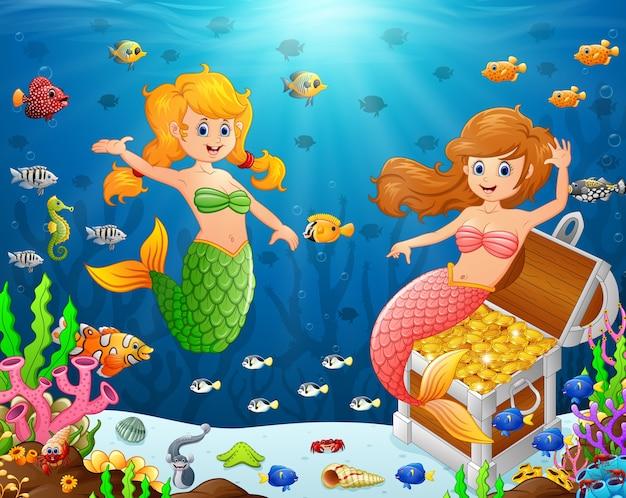 Illustratie van een zeemeermin onder de zee