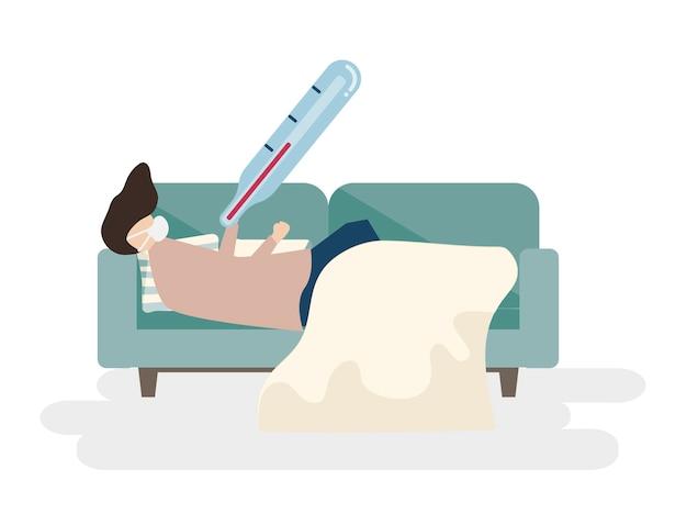 Illustratie van een zieke man op een sofa