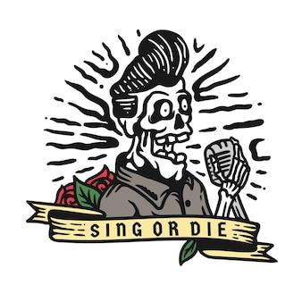 Illustratie van een zingende schedel met een microfoon met een lint op een witte achtergrond