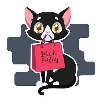 Illustratie van een zwarte kat die een zwarte vrijdagzak houdt
