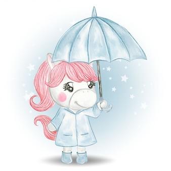 Illustratie van eenhoorn met paraplu