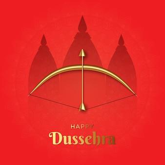 Illustratie van elegant happy dussehra-feest met pijl en boog