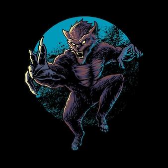 Illustratie van eng weerwolfontwerp