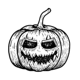 Illustratie van enge halloween-pompoen op witte achtergrond. element voor poster, kaart, banner, flyer. beeld