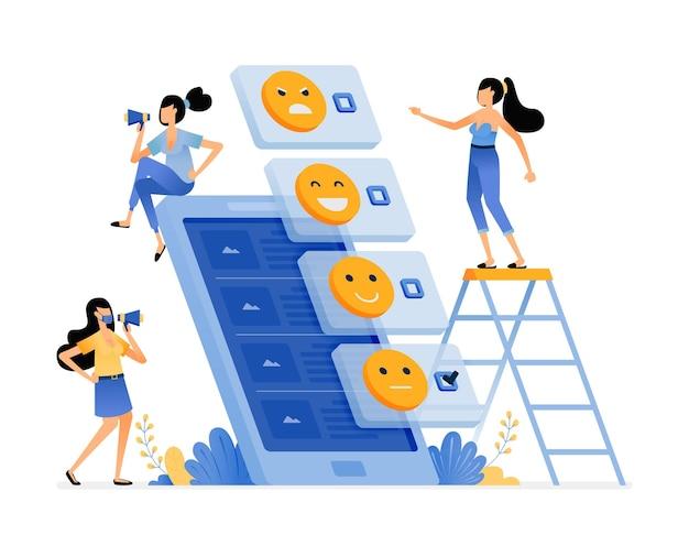 Illustratie van enquête invullen voor feedback van apps