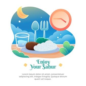 Illustratie van eten en drinken om te eten voor zonsopgang