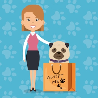Illustratie van familieleden met huisdieren karakters