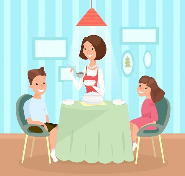 Illustratie van familiemaaltijd. moeder giet soep in kindergerechten, zoon en dochter samen aan tafel lunchen.