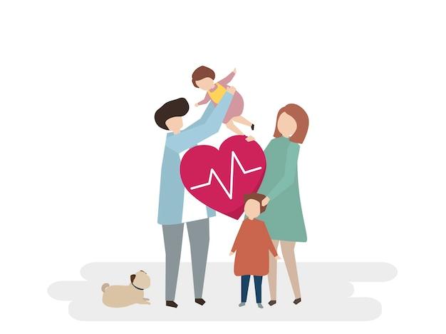 Illustratie van familiezorg