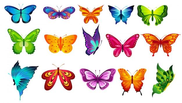 Illustratie van felle kleuren vlinders geïsoleerd op een witte achtergrond in vlakke stijl.