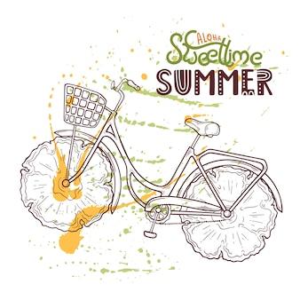 Illustratie van fiets met ananas in plaats van wielen.