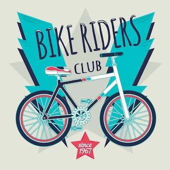 Illustratie van fiets met bliksem en een ster in het midden.