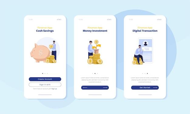 Illustratie van financiële bedrijfsinvesteringen op mobiel scherm aan boord voor gebruikersinterfaceconcept