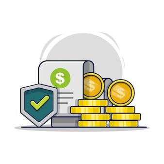 Illustratie van financiële garantie verzekering pictogram