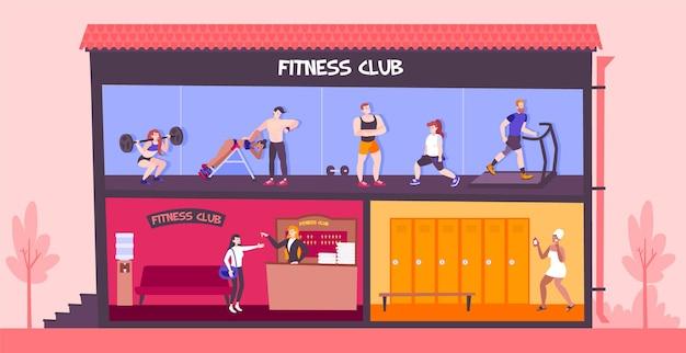 Illustratie van fitnessclub