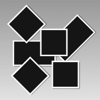 Illustratie van fotolijst sjablonen op transparante achtergrond voor foto's