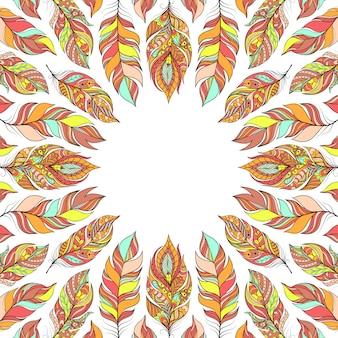 Illustratie van frame met abstracte kleurrijke veren.