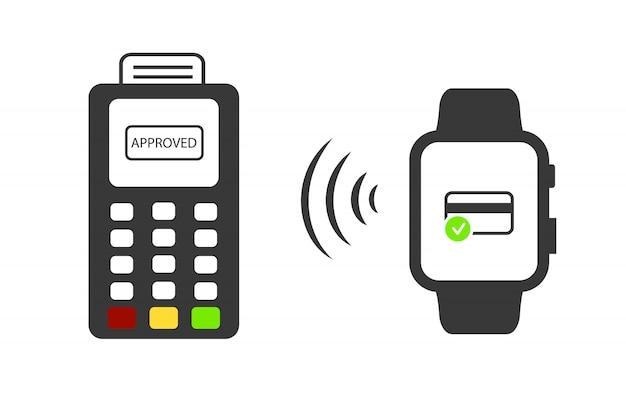 Illustratie van functionaliteit elektronische intelligentie polshorloge voor betaling.