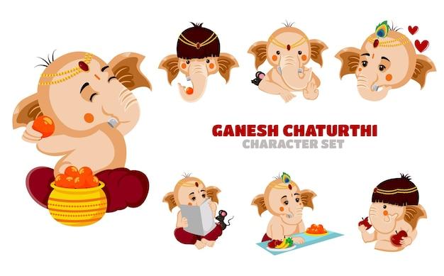Illustratie van ganesh chaturthi-tekenset