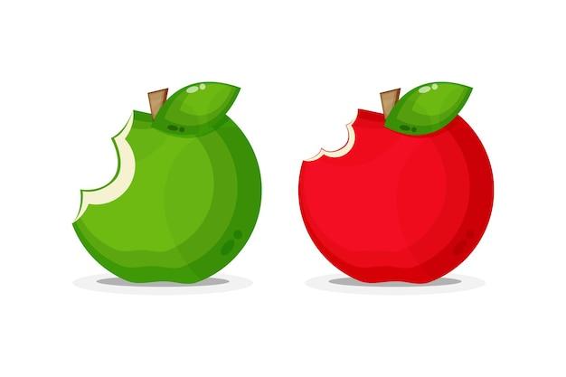 Illustratie van gebeten rode en groene appel
