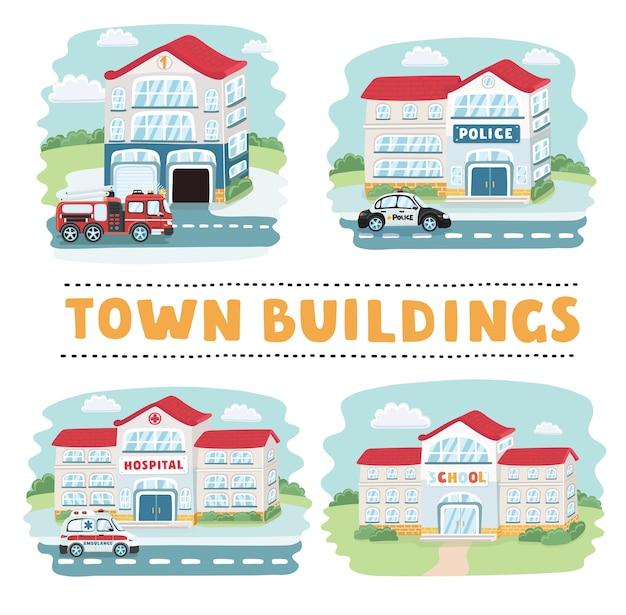 Illustratie van gebouwen, waaronder winkel, hotel, ziekenhuis, school, politiebureau, kerk, bioscoop, huis en brandweerkazerne.