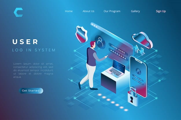 Illustratie van gebruikerslogin en gebruikersgegevensbeveiliging in isometrische 3d-stijl