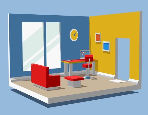 Illustratie van gedetailleerde kleur zijaanzicht interieur kantoor aan huis kamer