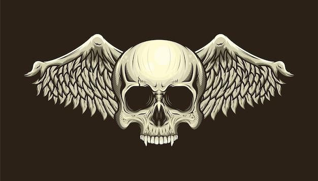 Illustratie van gedetailleerde schedelhoofd en vleugels