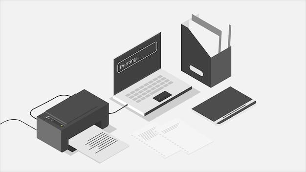 Illustratie van gegevensafdrukken in isometrische stijl met zwart-wittint