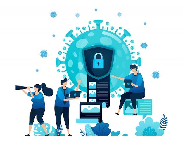 Illustratie van gegevensversleuteling en beveiliging om vertrouwelijke informatie van covid-19-virus en vaccins te beschermen.