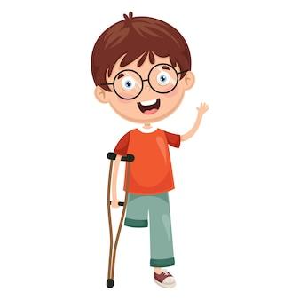 Illustratie van gehandicapte jongen