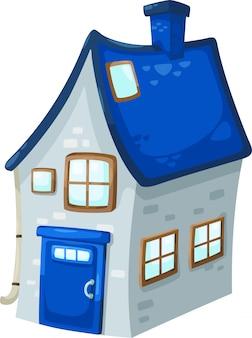 Illustratie van geïsoleerd huis op witte achtergrond