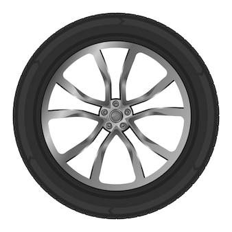 Illustratie van geïsoleerd wiel van auto op wit