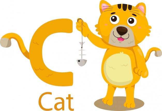Illustratie van geïsoleerde dier alfabet c voor kat op wit