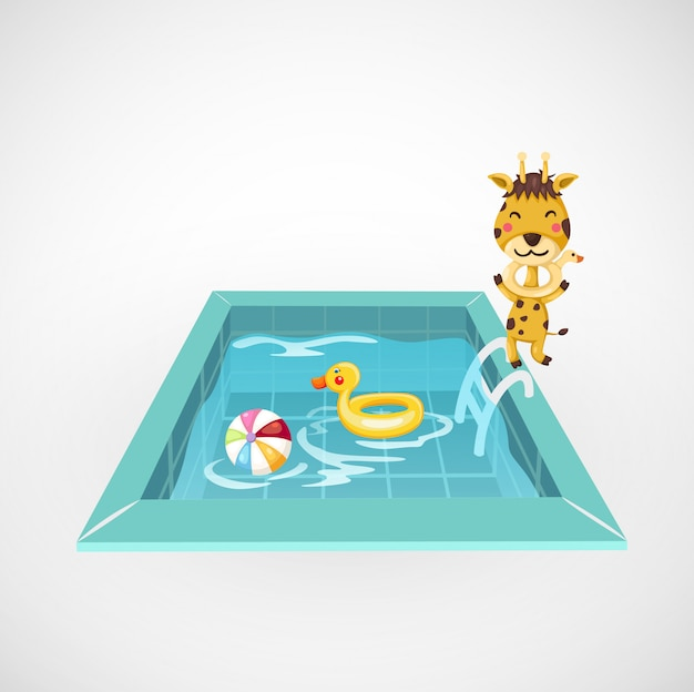 Illustratie van geïsoleerde giraf en een zwembad