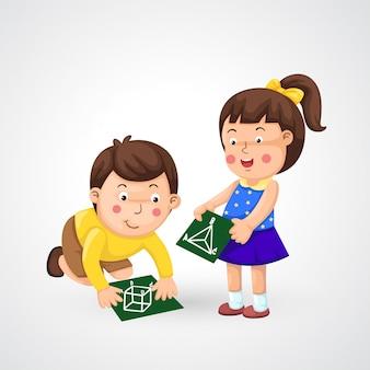 Illustratie van geïsoleerde kinderen die thuiswerk doen
