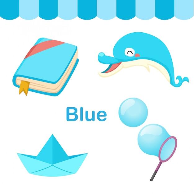 Illustratie van geïsoleerde kleuren blauwe groep