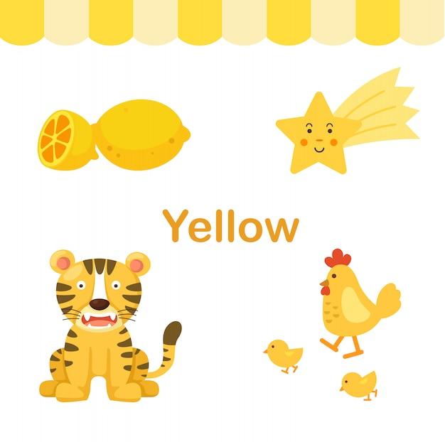 Illustratie van geïsoleerde kleuren gele groep