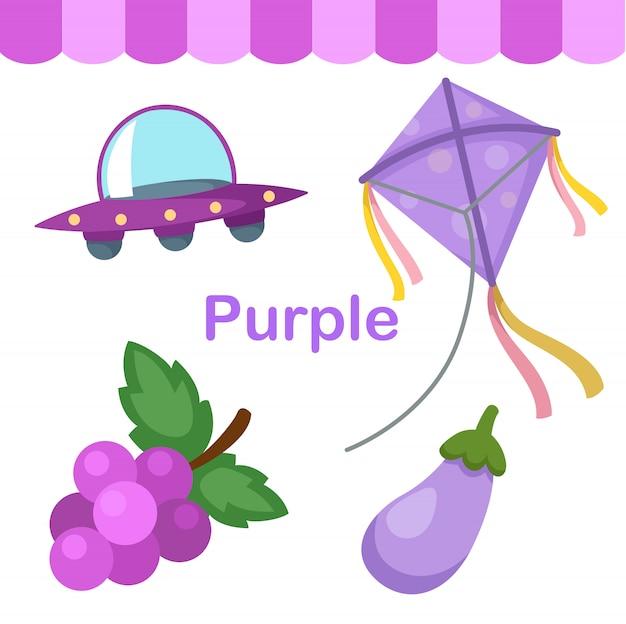 Illustratie van geïsoleerde kleuren purpere groep