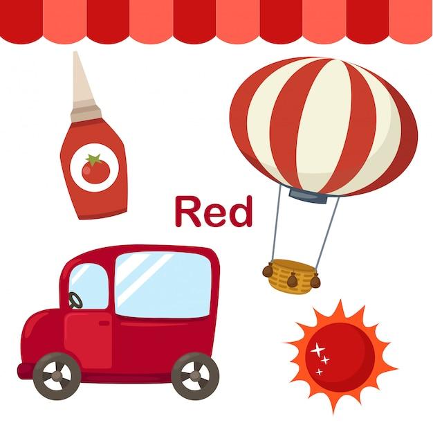 Illustratie van geïsoleerde kleuren rode groep