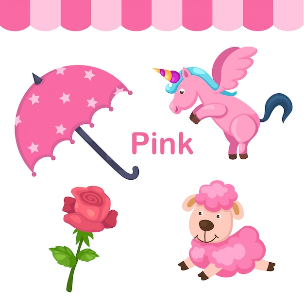Illustratie van geïsoleerde kleuren roze groep