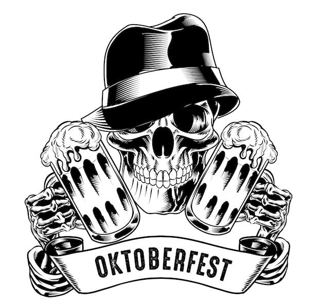 Illustratie van geïsoleerde schedel met hoed met bier voor logo en branding element