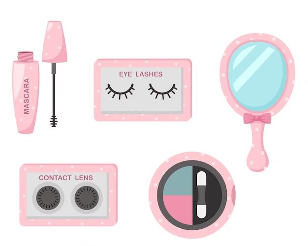 Illustratie van geïsoleerde set cosmetica
