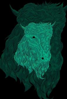Illustratie van geit en kleine hoorn artwork