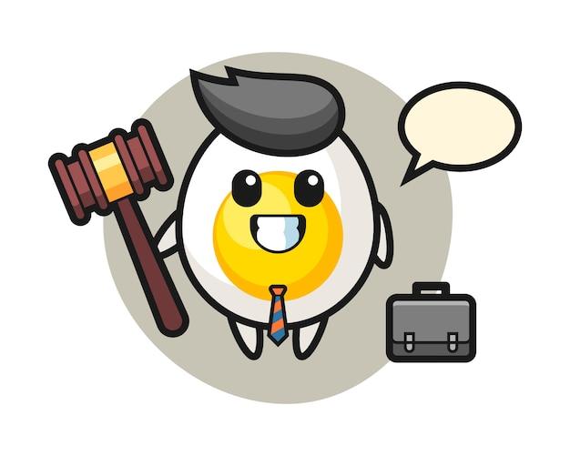 Illustratie van gekookt ei mascotte als advocaat