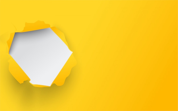 Illustratie van gele gescheurde papieren omslag.