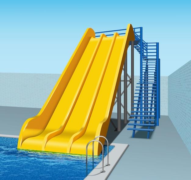 Illustratie van gele plastic glijbanen in aquapark