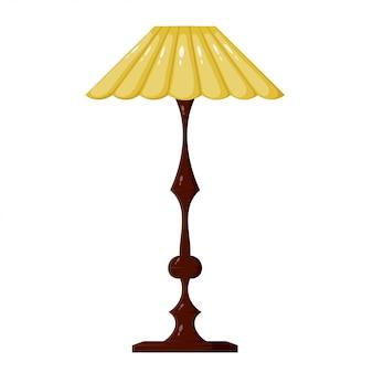 Illustratie van gele staande lamp. vintage lamp. staande lamp in cartoonstijl