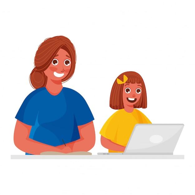 Illustratie van geluk meisje met behulp van laptop met jonge vrouw die op boek schrijft.